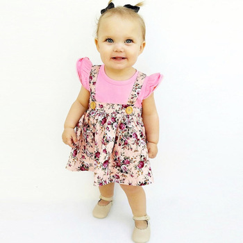 1-4y Summer Children Clothing Floral Girl Skirt Cotton Cute Toddler Suspender Skirts for Baby Girls Clothing  3