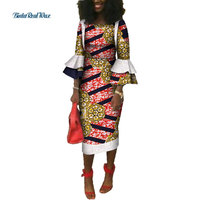 Bazin Riche Custom African Clothes African Dresses for Women Print Lace Ruffles Sleeve Dresses Dashiki African Clothing WY3657