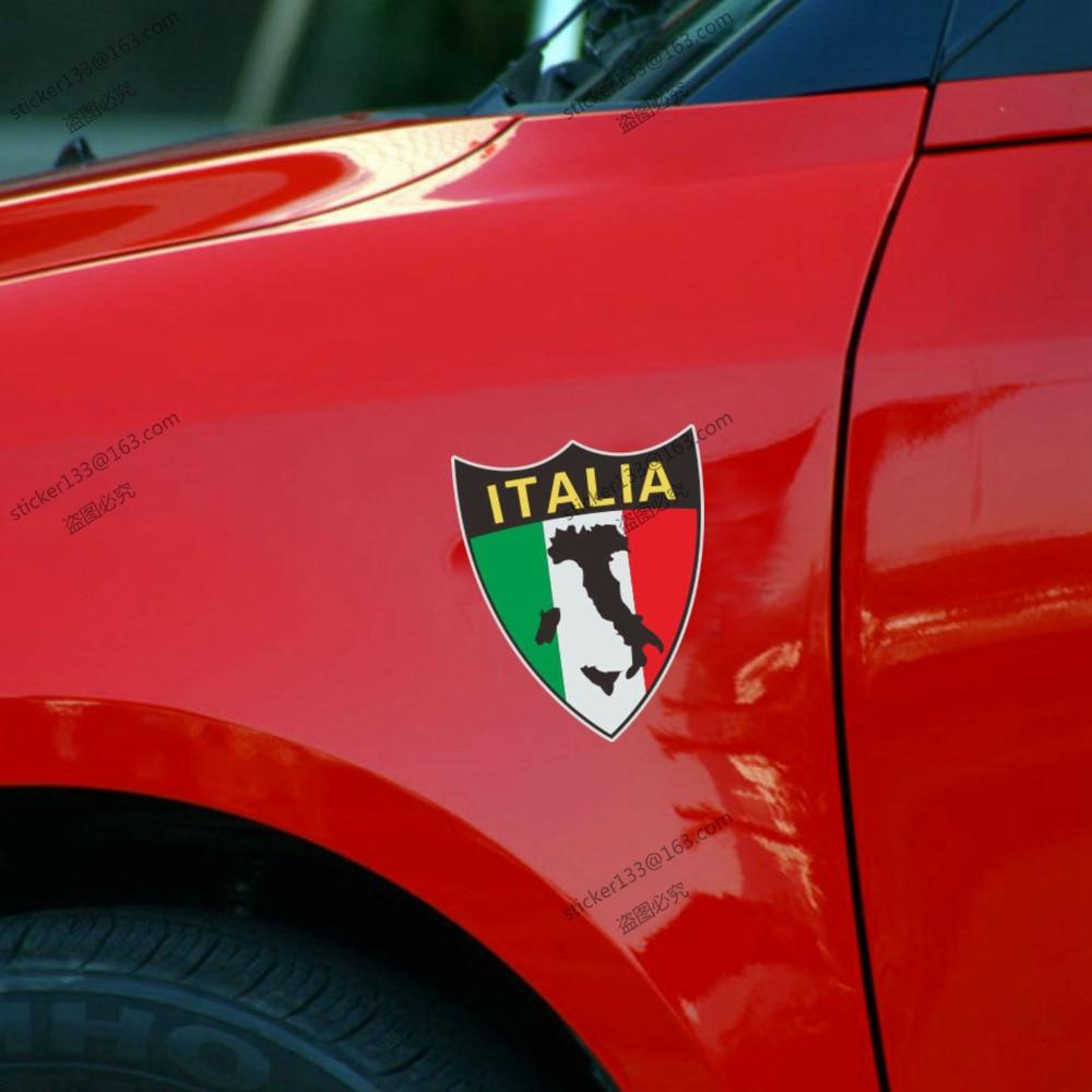 Design car flags - 10cm High Reflective Shield Italy Italian Flag Map Car Decal Sticker Cool Sticker China