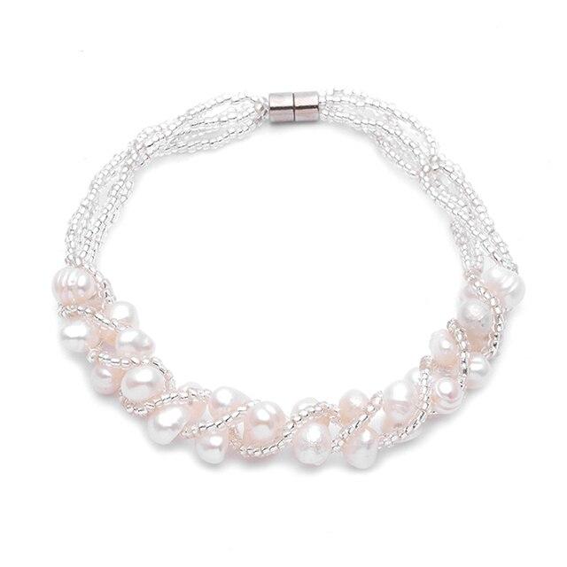 Bracelet de perles d'eau douce blanches de mode Bracelet de perles Multi couche naturel réel pour les femmes de mariage bijoux fins cadeau de fête