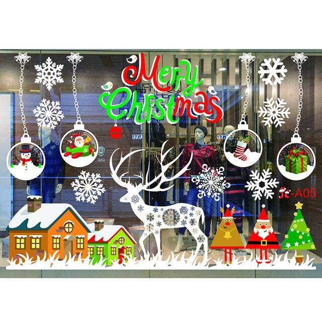 Merry новогодние наклейки на окно ПВХ Съемный елка Снежинки стены стикеры стекло Наклейка Фреска новый год Рождество украшения
