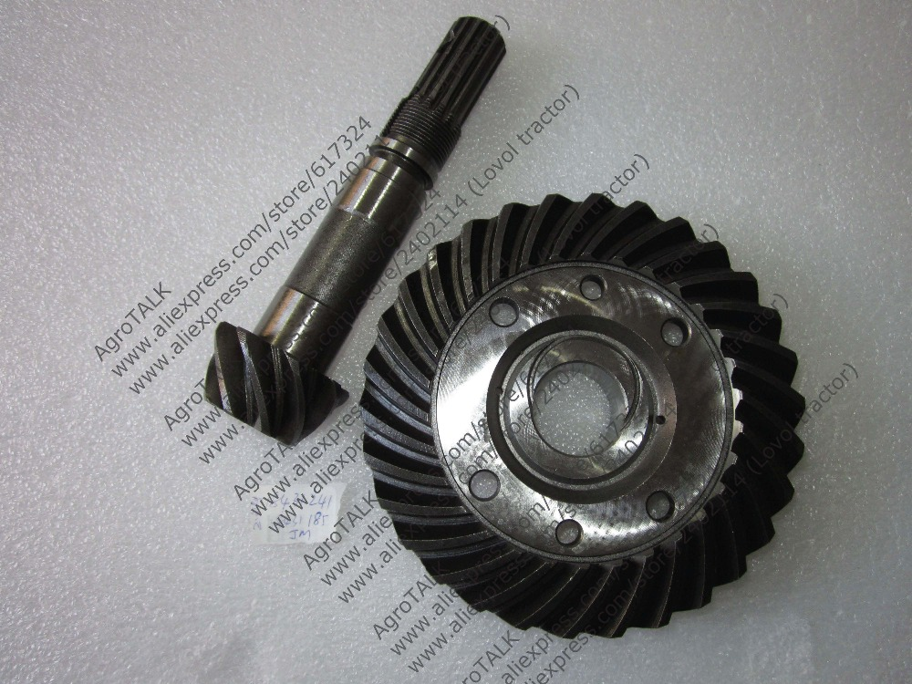 купить JINMA 184 254 set of spiral bevel gear and shaft for front axle, part number: 184.31.185 and 184.31.241 недорого
