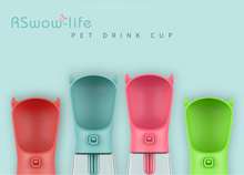 350ml Pet Travel Cup Outdoor Plastic Portable Water Bottle Bowl Drinker with Lid Switch Activated Carbon Filter