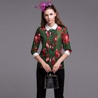 Elegant Green Blouse Casual Shirt Summer Turn Down Collar 3/4 Sleeve Flowers New 2019 Print Fashion Blouse