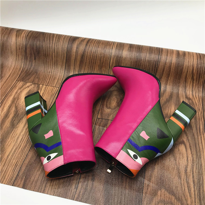 2019 Fashion Brand, Women's Ankle Boots, Print High Heels Martin Shoes, Women's Pumps Basic Leather Boots 21