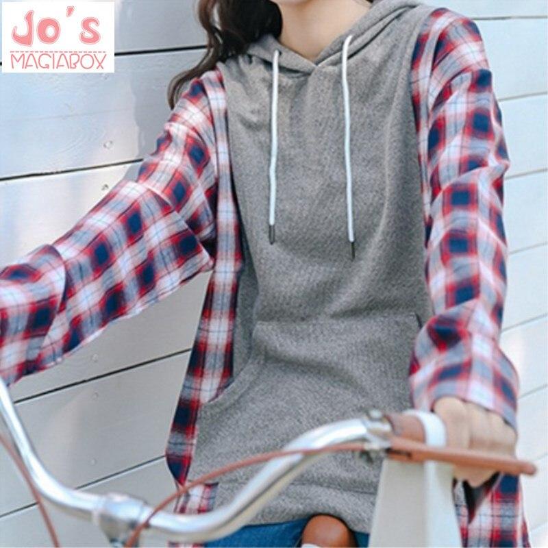 Femmes Sweats à capuche Surdimensionné Survêtements Harajuku À Manches Longues À Capuche Pulls Plaid Plus La Taille Printemps Automne Tops