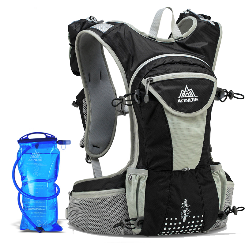 AONIJIE Men Women Trail Running Backpack Sukan luar Hiking Bag Racing dengan Pilihan 2L Penghidratan Air Beg 250ml Air Botol