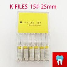 6 шт./упак. 15#-25 мм стоматологические K файлы корневой канал Endo файлы стоматологические инструменты ручные файлы из нержавеющей стали K Файлы стоматология лабораторные инструменты