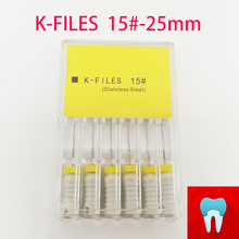 6pcs/pack 15#-25mm Dental K Files Root Canal Endo Dentist Tools Hand Stainless Steel Dentistry Lab