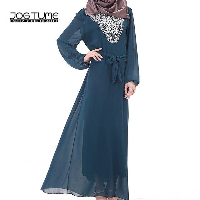 157ceb9d64fab US $20.39 32% OFF Abaya Islamic JOGTUME Womens Gaun Hitam Merah Hijau Biru  Apricot Lace Arabia Muslim Kaftan Jubah Wanita Chiffon Maxi Gaun Panjang di  ...