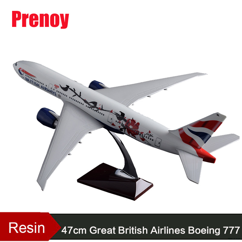 47cm Resin B777 Aircraft Model Great British Airways Boeing 777 England Airplane Model Airbus Model Creative Collection Gift Toy pre sale phoenix 11216 air france f gsqi jonone 1 400 b777 300er commercial jetliners plane model hobby
