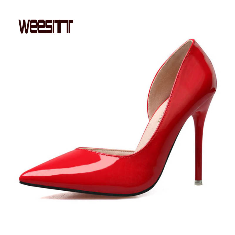 WEESITT 2017 Spring Summer High Quality Women OL Pointed Toe Red High Heel Shoes Patent Leather Fashion Sexy Wedding Party Pumps new 2017 spring summer women shoes pointed toe high quality brand fashion womens flats ladies plus size 41 sweet flock t179