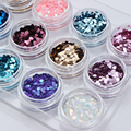12 Colores/Set Súper Glitter Powder Set Ronda de Uñas de Acrílico Arte Decoración Colorida Brillante Glitter Powder Hojas CALIENTE