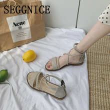 Women Sandals Flat Ankle Strap 2019 Summer Shoes Casual Beach Sandals Women's Rome Gladiator Style Fashion Flats Woman Shoes lucyever women fashion rome buckle sandals 2018 summer flats gladiator sandals pointed toe ankle strap rivets punk shoes woman