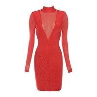 2017 Spring Sexy Red Long Sleeve Bandage Dress Bodycon Mesh See Through High Neck Bodysuit Vestidos