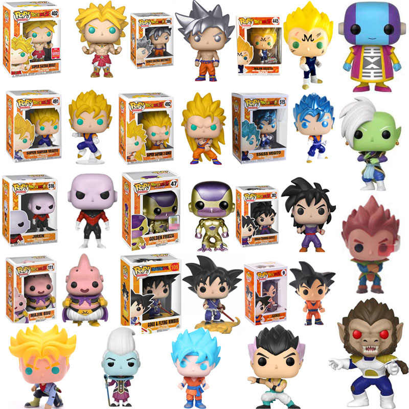 FUNKO POP Anime Dragon Ball SUPER SAIYAN GOKU VEGITO Action Figure Collectible Modelo de Vinil GRANDE VEGETA FREEZA Brinquedos Para As Crianças