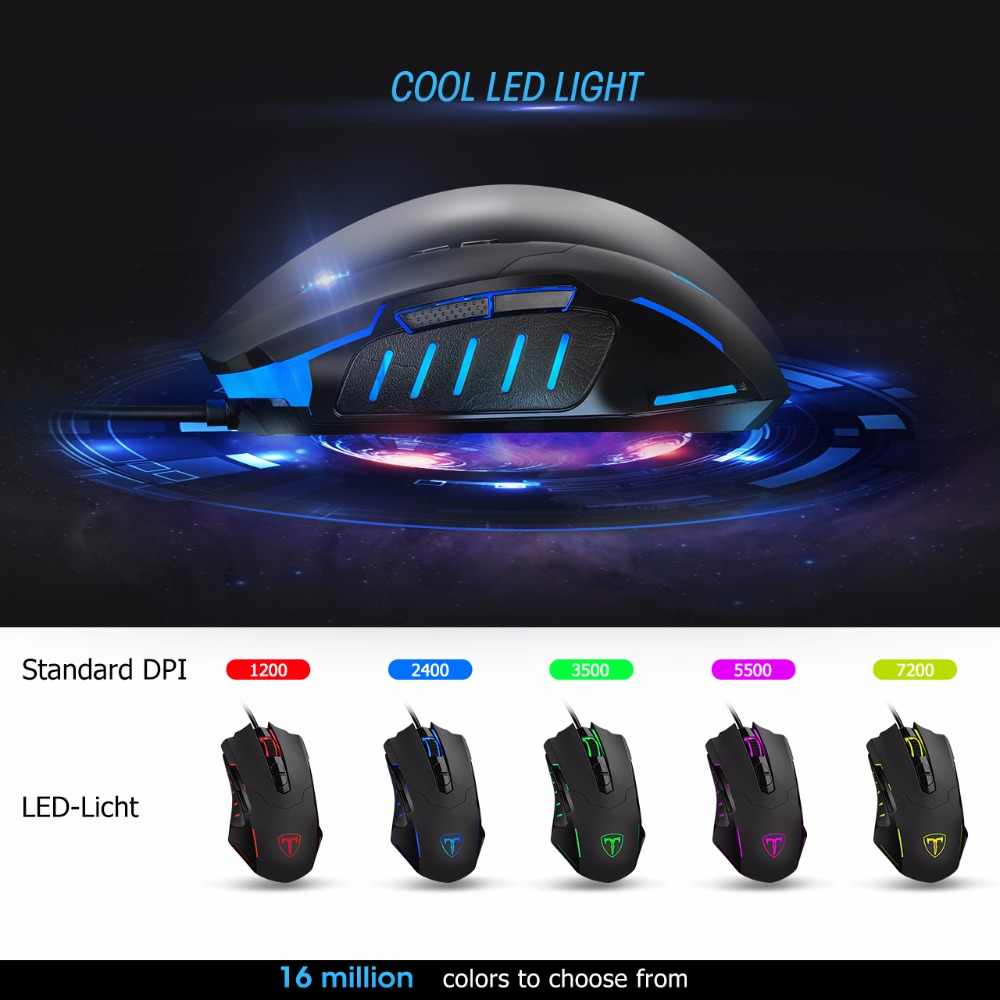 VicTsing Wired Gaming Mouse 5 Levels DPI Adjustable Best PC Gaming Mouse  Ergonomic Mouse With Breathing Backlight&7 Button