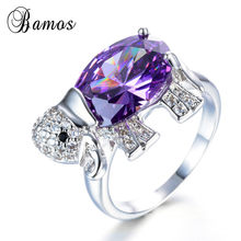 Bamos Charming 925 Sterling Silver Bạc Đầy Animal Elephant Wedding Bands Tím & White AAA Zircon Birthstone Nhẫn Đối Với Phụ N(China)