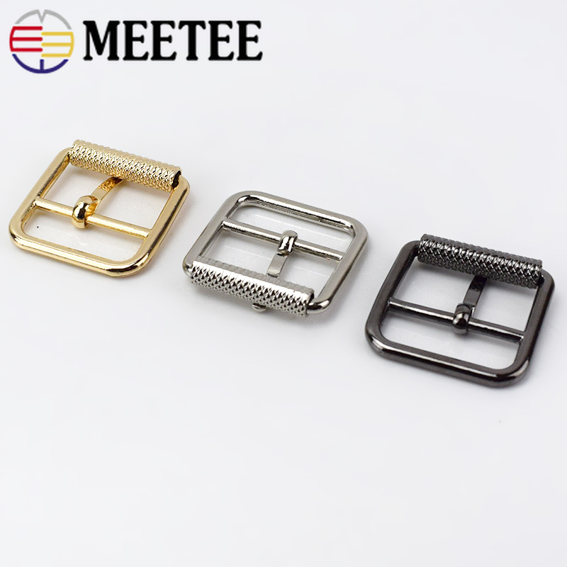 Meetee 5Pcs 25mm Pin Belt Buckles For Bags Straps Rectangle Ring Adjust Roller Belt Buckles Snap DIY Leather Sewing Accessories in Buckles Hooks from Home Garden
