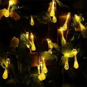 Image 4 - 7 m 50led luz de fadas led solar powered gota de água luzes da corda festa de natal casamento festival ao ar livre indoor decotion