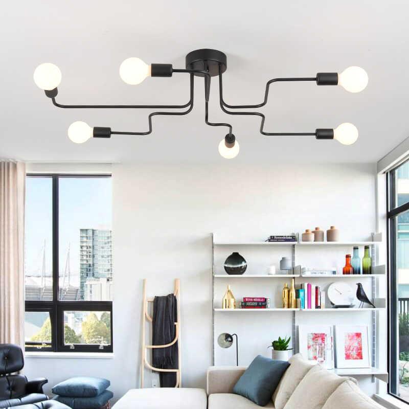 Железный подвесной светильник Промышленный светодиодный светильник современный паук подвесной светильник черный Лофт подвесной светильник Промышленный светильник для гостиной
