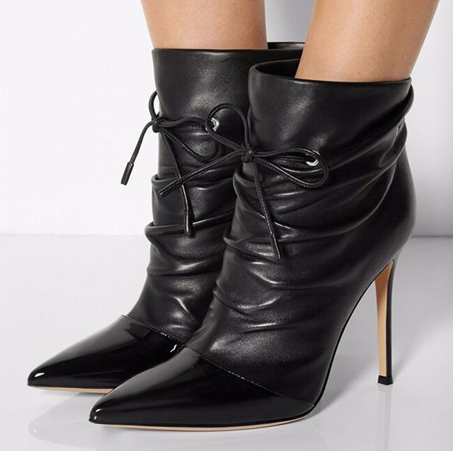Pointed Toe Fashion Short Boots Women Sexy Ankle Sraps High Heel Shoes Leather Thin Heels Shoes Spring Autumn Party Shoes 2015 autumn korean style pointed shoes with thin heels original glass double peach heart design shoes leather shoes