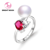Bright Moon Cute Crab Unique Pearl Jewelry Rings With 9 10mm Nature Freshwater 925 Sterling Silver