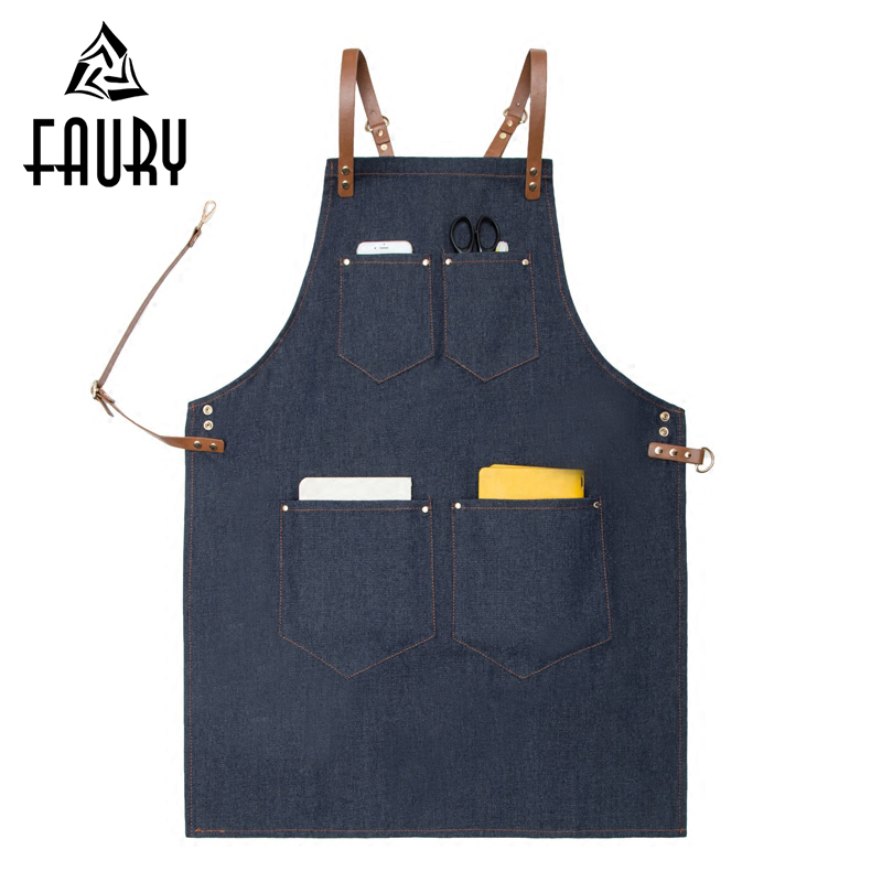 2018 New Unisex Denim Bib Cowboy Antifouling Leather Apron Barber Shop Kitchen Chef BBQ Cooking Pinafore Uniform Adult Avental