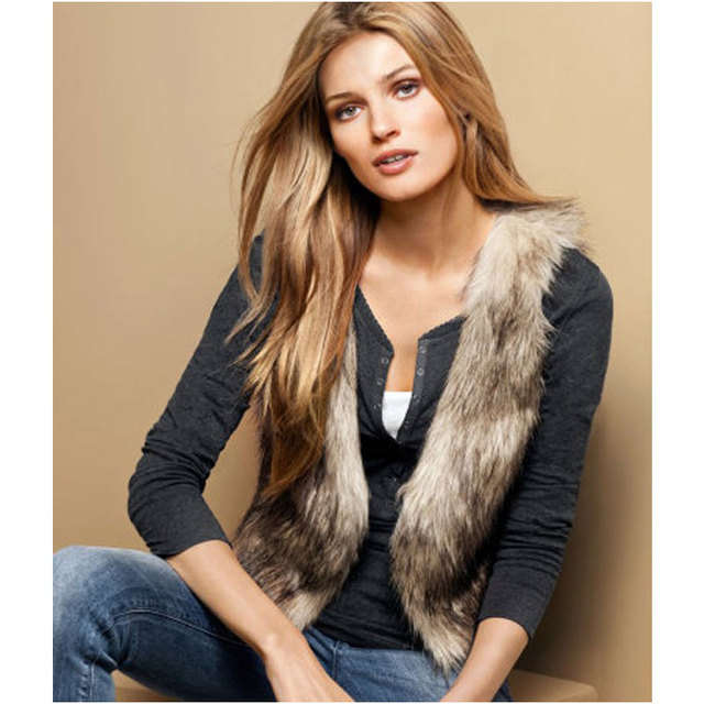 2016 New Fashion Low Price Faux Fur Vest Gilet Waistcoat Hot Brown