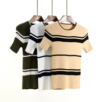 High Quality Ice Silk Women Summer Style O Neck Knitted Pullovers Short Sleeve Striped Design Jumper