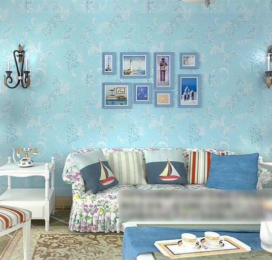 Wallpaper Damask Picture More Detailed Picture About Girls - Blue wallpaper for girls bedroom