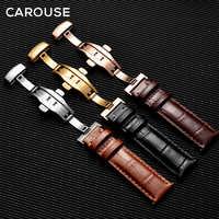 Bracelet Carouse en cuir véritable veau avec boucle papillon Bracelet pour Bracelet de montre taille 14 16 18 19 20 21 22mm