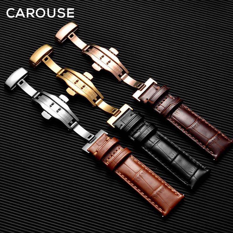 Carouse couro genuíno pulseira de bezerro com borboleta fivela pulseiras pulseira para relógio de tamanho em 14 16 18 19 20 21 22 mm