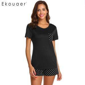 Image 3 - Ekouaer Frauen Nachtwäsche Pyjamas Sets Oansatz Kurzarm Tops Dot Tasche Shorts Pyjamas Set Damen Casual Hause Nachtwäsche