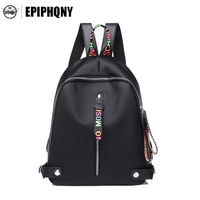 Epiphqny Brand Black Women PU Leather Backpack For Teenager Youth Color Letter Simple Daypack Zipper Head