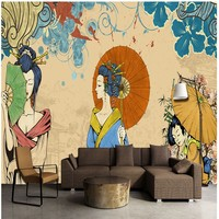 Free Shipping 3D Stereo Custom HD Hand Painted Japanese Ladies Mural Restaurant Bar Cafe Hotel Wallpaper