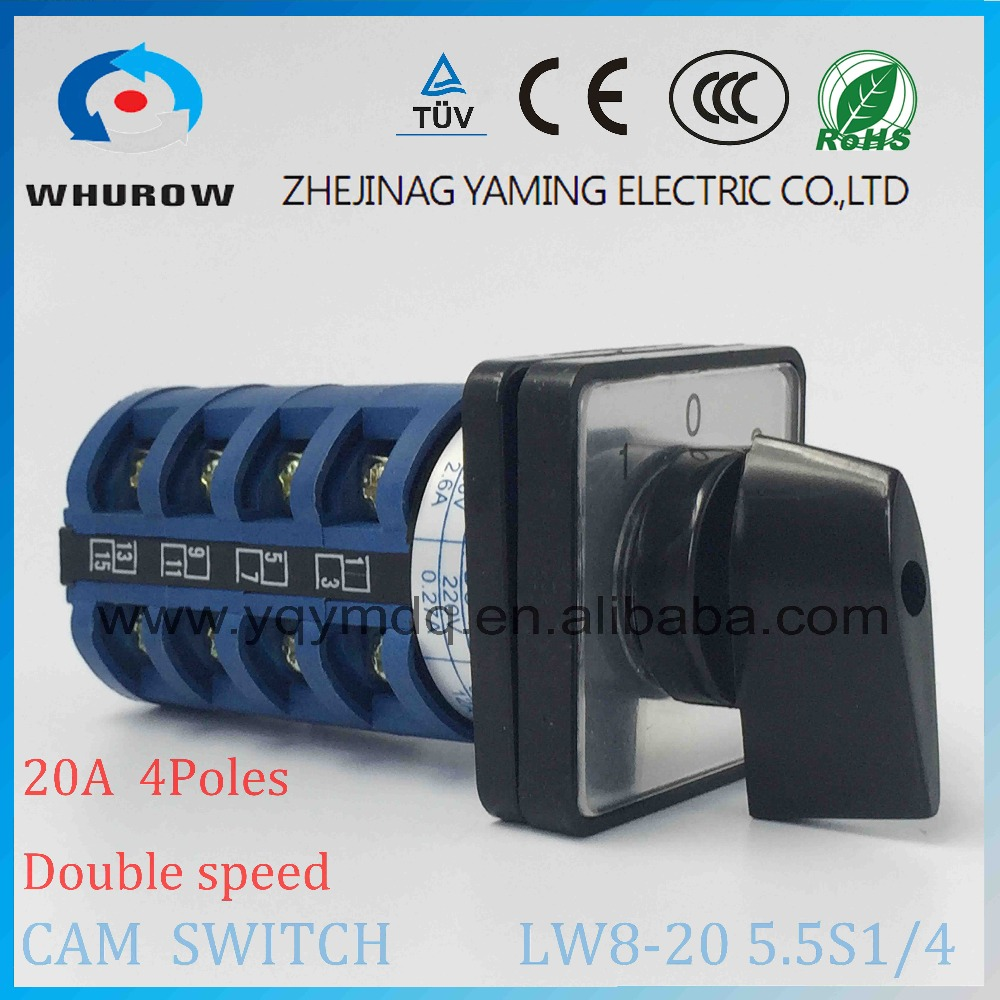 3 position Rotary switch LW8-20-5.5S1/4 universal switch 20A 4 poles 16 Terminal high speed low speed changeover cam switch load circuit breaker switch ac ui 660v ith 100a on off 3 poles 3 phases 3no 2 position universal rotary cam changeover switch