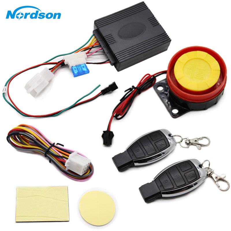 Nordson 12V Motorcycle Anti-theft Horn Motocross Security Alarm System Moto Bike Remote Control Engine Start Keyless Entry