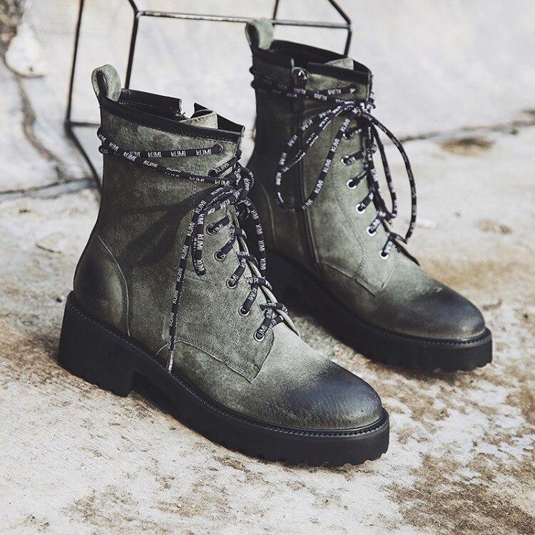34 Tamaño Negro Botas Cuero Zapatos {zorssar} púrpura 43 De Grandes Invierno Martin Mujer Tacones verde Gamuza Botines Tobillo Owfn1Z