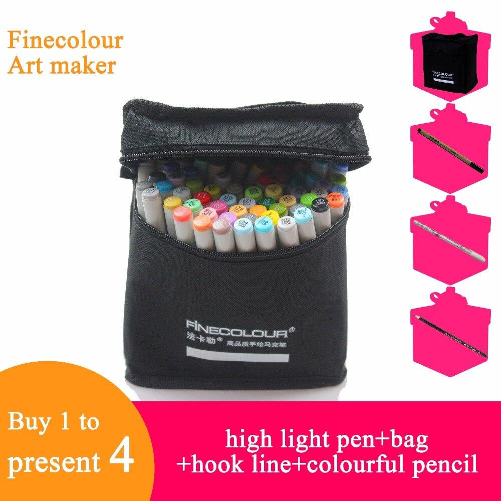 Finecolour ef101 160 cores álcool baseado tinta caligrafia marcador duplo-headed escova arte marcadores para desenho