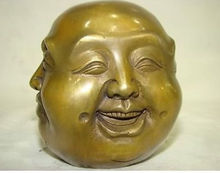 Chinese Old LUCKY tibetan brass four face seal buddha head statue decoration bronze factory outlets