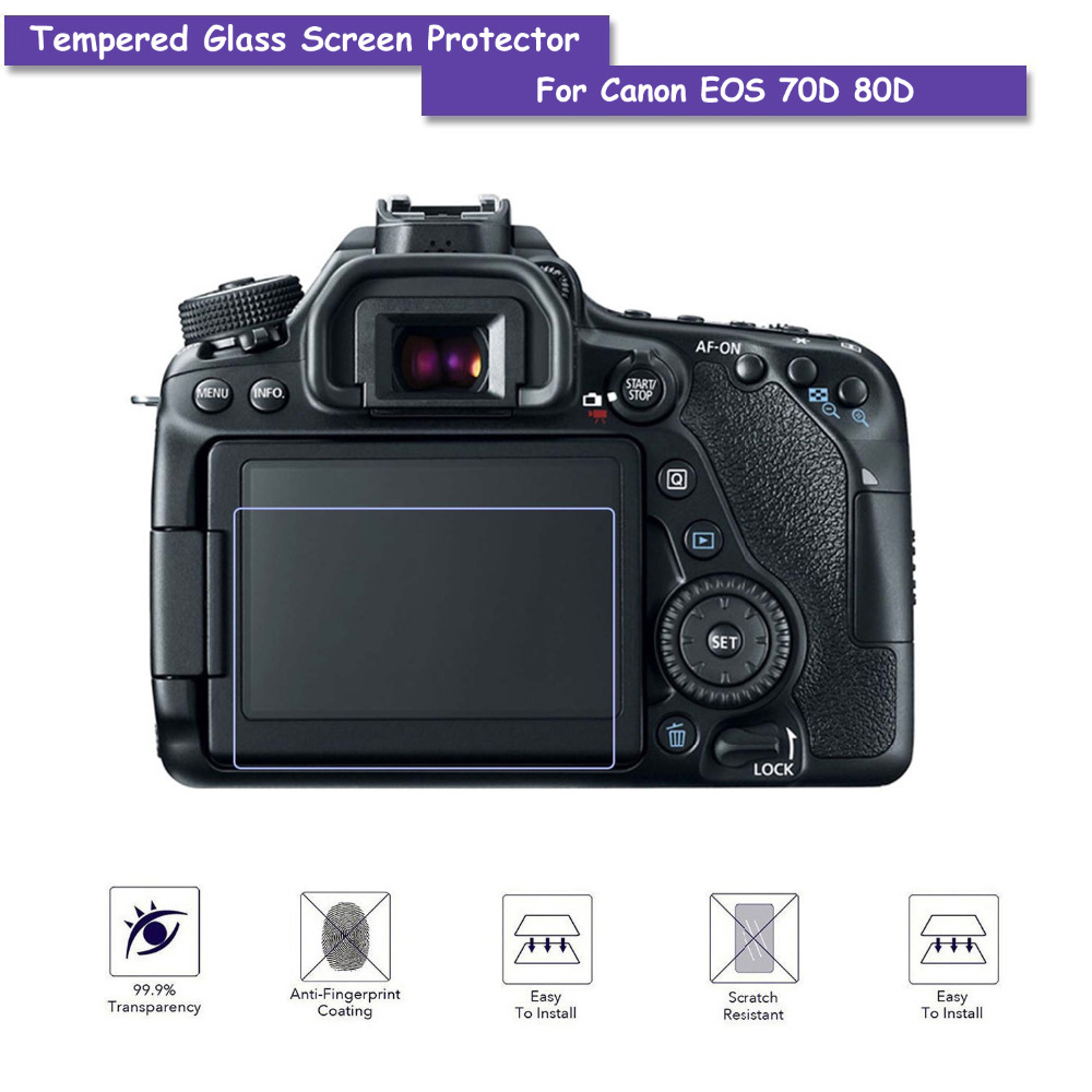 9H Tempered Glass LCD Screen Protector Shield Film For Canon DSLR 70D Camera Accessories