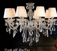 new european style crystal pendant lamp bedroom candle crystal chandelier transparent luxury chandelier with lampshade