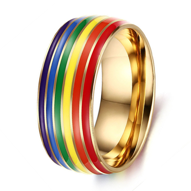 Or 316 L acier inoxydable arc-en-Zircone cubique Fiançailles Mariage Band Ring Taille 6-12