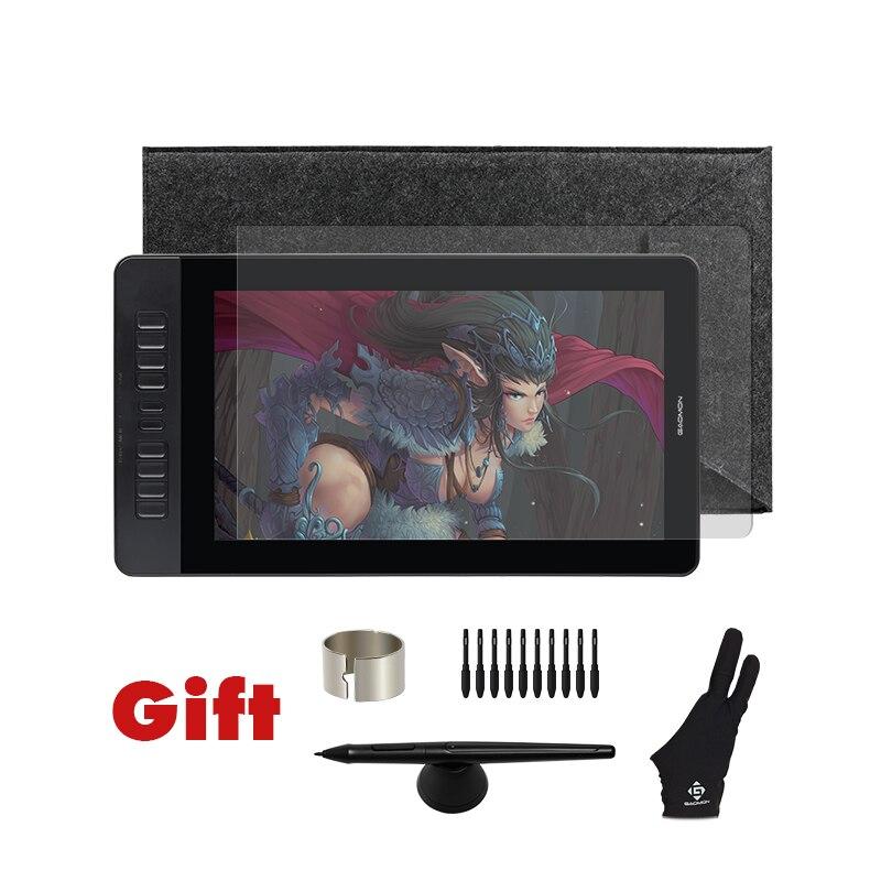 GAOMON PD1560 15,6 pulgadas 10 llaves arte gráficos profesionales Tablet con pantalla pluma dibujo Tablet Monitor para ganar y Mac con regalos