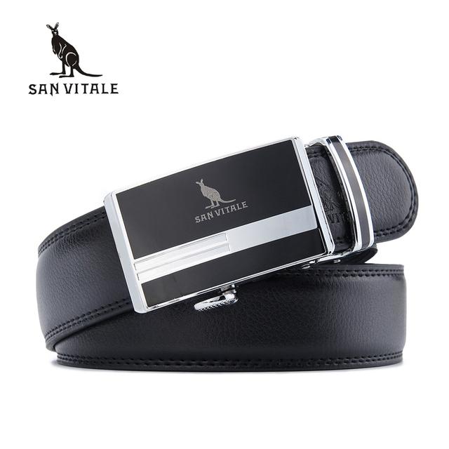 SAN VITALE cintura cinta masculina cinto de couro genuíno dos homens cintos de Luxo para homens marca de moda cinto largo cinturones hombre cinto tático