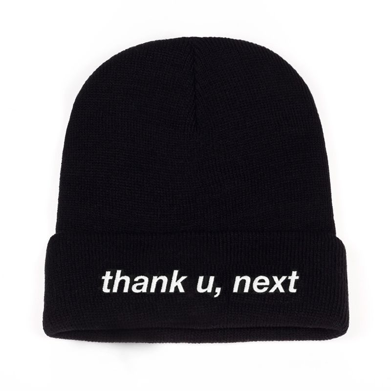 Thank U,Next   Beanie   Ariana Grande embroidery Knitted Hat Warm Winter Unisex Women Man Hats thank u,next