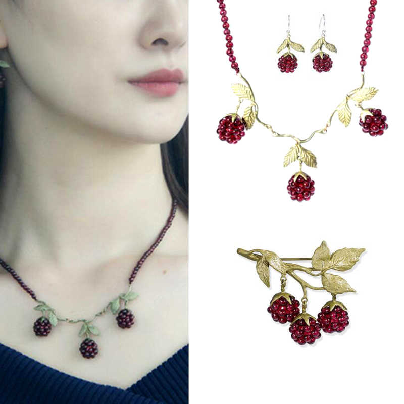 CSxjd High quality bronze material Natural Garnet Raspberry Womens Vintage raspberry Necklace Earring and Brooch Jewelry Sets