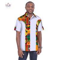 Traditional Mens African Clothing Men Shirts Short Sleeve Dashiki Men African Print Shirt Plus Size Mens Clothing 6XL BRW WYN05