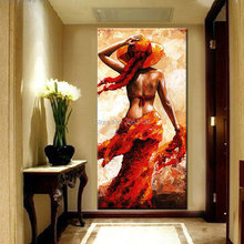 hand painted large living room decorative oil painting view of back girl beautiful women red canvas figure picture art piece